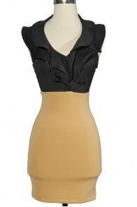 Black And Tan Ruffle Halter Bodycon Dress