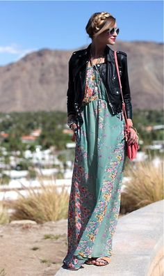 great maxi dress... leather jacket adds some edge...  #fashion #style +++For tips and advice on #trends and fashion, Visit http://www.makeupbymisscee.com/