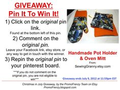 GIVEAWAY - Pin It To Win It: To Win This Item from SewingGranny.etsy.com, follow the instructions: Click on ORIGINAL pin, comment leaving a way to contact you, REPIN the ORIGINAL Pin! Contest ends 7/9/12 @ 11:59pm EST. Winner announced 7/10/12.
