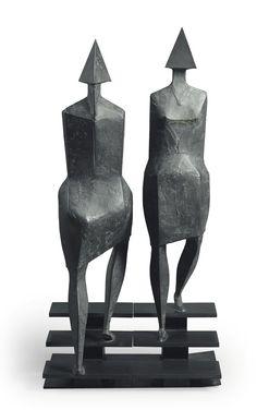 Libra Abstrait Assis couple Résine Sculpture Statue Home ornement bronze 33 cm