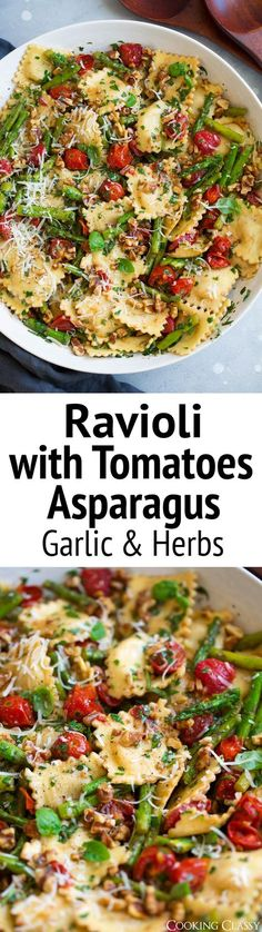Ravioli with Tomatoes Asparagus Garlic and Herbs via @cookingclassy