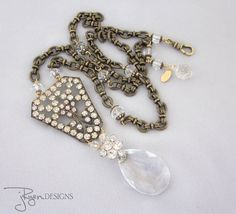 Repurposed Rhinestone and Crystal Necklace by jryendesigns on Etsy