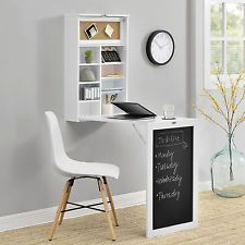 Wall-integrated Desk Computer Table Folding White with Shelves Space-Saving