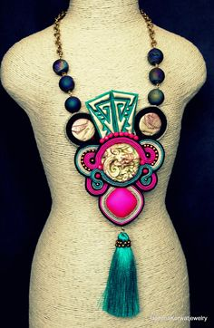 Soutache necklace Soutache Necklace, Tassel Necklace, Agate Beads, Glass Beads, Natural Leather, Tassels, Polymer Clay, Braids, Bohemian