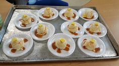 Dr Seuss Wacky Wednesday - mashed potatoes and gravy with butter Patty.   Ice cream, Carmel sauce and yellow startburst