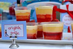 A classic British Party Theme- English Trifle British Themed Parties, British Party, First Birthday Parties, First Birthdays, England Party, English Trifle, Leaving Party, Queen 90th Birthday, Race Party