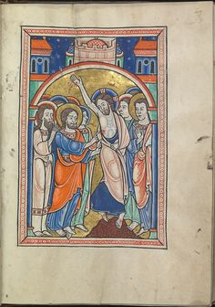Images from the life of Christ - The Incredulity of St Thomas - Psalter of Eleanor of Aquitaine (ca. 1185) - KB 76 F 13, folium 025r.