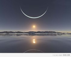 Sunrise at North Pole with Moon it's closest point.