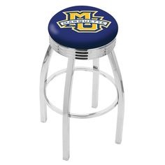Marquette Golden Eagles D1 Chrome Ribbed Ring Bar Stool. Available in 25-inch and 30-inch Seat Heights.  Please Visit SportsFansPlus.com for details.