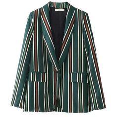 Mackenzie Green Stripe Casual Blazer ($50) ❤ liked on Polyvore featuring outerwear, jackets, blazers, blazer, green blazer, striped blazer, green jacket, stripe jacket and blazer jacket