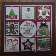 Christmas Cheer Sampler Stampin' Up - city sidewalk paper pack Christmas Shadow Boxes, Christmas Collage, Christmas Frames, Christmas Scrapbook, Christmas Paper, Handmade Christmas, Christmas Cards, Xmas Crafts, Christmas Projects