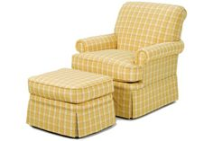 """Wesley Hall Furniture - Hickory, NC - PRODUCT PAGE - 949 EMPIRE SKIRT CHAIR  OUTSIDE:L 34.5"""" D 36.5"""" H 36""""  INSIDE:L 21"""" D 21.5"""" H 18.5""""  SEAT:H 19.5"""" ARM H 25""""       949-24 OTTOMAN    OUTSIDE:  L 24.5"""" D 20.0"""" H17.0"""""""