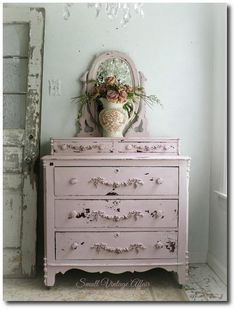 Pink Dresser with Mirror Shabby Chic Pretty Beach Cottage Nursery Purchase At Small Vintage Affair