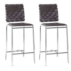 Pull up to your counter for a meal or drink with a friend with this pair of distinctive counter chairs that feature criss-cross patterned leatherette strips on the chair backs. The supportive chrome frame ensures a long useful life for these chairs.