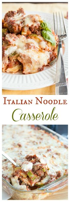 Italian Noodle Casserole - classic comfort food with a healthier update in this old school dish that has layers of cream noodles, meaty tomato sauce and cheese. Baked Pasta Recipes, Beef Recipes, Cooking Recipes, Healthy Recipes, Recipies, Yogurt Recipes, Noodle Casserole, Casserole Dishes, Casserole Recipes