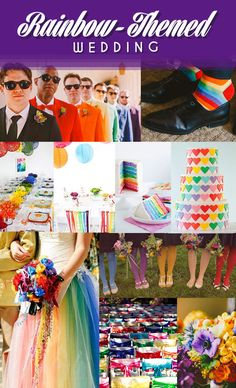 For when you can't decide on which color is your favorite.Groomsmen | SocksTable Setting | Ribbon Chairs | Rainbow Cake | Heart CakeTulle Dress | Bow Chairs | Bouquet | Colorful Tights