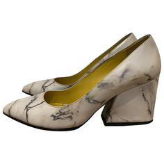 Leather heels Charlotte Olympia White size 37 EU in Leather - 11189813 Leather Heels, White Leather, Real Leather, Shoes Heels, Pumps, Marble Pattern, Charlotte Olympia, Luxury Consignment, Block Heels