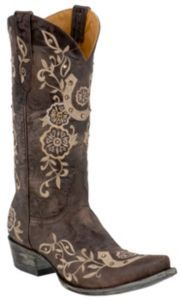 Old Gringo Ladies Chocolate w/ Natural Embroidered Lucky Horseshoe Snip Toe Cowboy Boots $559.99