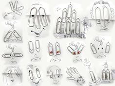 25 Creative and Funny Art - Everyday Objects Into Imaginative Illustrations by Victor Nunes Ipad Art, High School Art, Middle School Art, Vincent Bal, Ipad Kunst, Paper Clip Art, Simple Line Drawings, Funny Drawings, Pencil Drawings