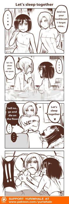 Annie gets what Annie wants; she knows how to play Mikasa lol. Mikannie | Annie Leonhardt | Mikasa Ackerman | Shingeki no Kyojin | Attack on Titan | AoT | Snk