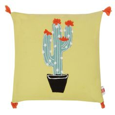 Ben de Lisi Home Yellow cactus applique cushion Cactus, Applique Cushions, Conversational Prints, Colourful Cushions, Cacti And Succulents, Soft Furnishings, Color Pop, Throw Pillows, Yellow