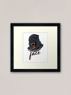 """Custom-made box or flat frame styles. The """"my on-court face"""" design is the perfect gift for tennis players and tennis fans, women and men who love their sport and hobby. It shows an angry #Gorilla face and writes my on court face. Be aggressive, focused and fully motivated on the tennis court. A design for the #tennis court, friends and #teammates and #tennisfans. This tennis based design is also a perfect #present for moms, dads and coaches. #BTNNS Framed Art Prints, Canvas Prints, Face Design, Tennis Players, Coaches, Finding Yourself, Dads, Flat, Sport"""