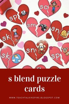 S Blend puzzle cards and S blend games.  Perfect for whole group instruction and small group work.  Comes with anchor chart pieces and games to review s blends!
