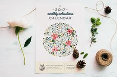 Watercolor 2017 Calendar – Hand Lettered Monthly Motivations