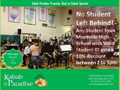 #NoStudentLeftBehin Any Student from #MontvilleHighSchool with #ValidStudentID gets a #10%discount between 2 to 5pm