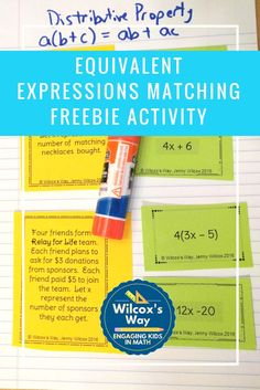 Use distributive property and combining like terms when matching equivalent expressions in this free card matching activity. Equivalent Expressions, Math Expressions, Real Number System, Math Properties, Simplifying Expressions, Combining Like Terms, Help Teaching, Teaching Tools, Distributive Property
