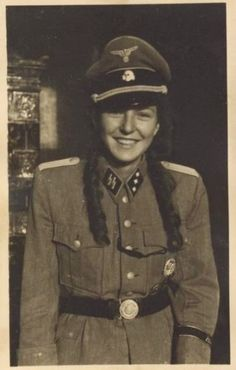 Nobody seems to know where this photo came from. It shows a young lady in an officer's (Untersturmführer) uniform. Women could not join SS units except as auxiliaries, and certainly did not wear SS officer uniforms.