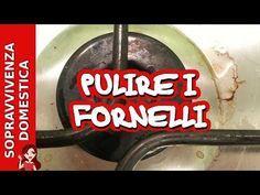 Pulire il piano cottura e i fornelli con aceto e bicarbonato - YouTube