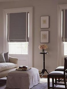 Roman shades, Pavilion Grey walls - Farrow and Ball Living Room Colors, My Living Room, Living Spaces, Bedroom Colors, Farrow And Ball Living Room, Window Coverings, Window Treatments, Diy Bamboo, Pavilion Grey