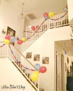 Superhero Party on a Budget, decorate stairs with streamers and balloons. Great party ideas and also check out the easiest homemade cape tutorial ever! Cape Tutorial, Diy Birthday, Unicorn Birthday, Birthday Parties, Birthday Quotes, Birthday Wishes, Happy Birthday, Diy Party Banner, Birthday Party Decorations