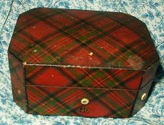 The Gatherings Antique Vintage - Antique 19th Century John Clark Tartan Ware Sewing Thread Box, $150.00 (http://store.the-gatherings-antique-vintage.net/antique-19th-century-john-clark-tartan-ware-sewing-thread-box/)