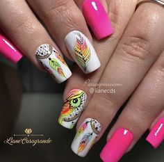 Cute Acrylic Nail Designs, Pretty Nail Designs, Diy Nail Designs, Cute Acrylic Nails, Glitter Nails, Rock Nails, Fire Nails, Linda Nails, Hello Nails