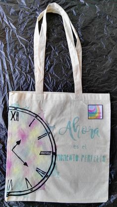 Watercolor Now is the perfect time (Ahora es el momento perfecto). Cotton tote canvas bag shopper.  Rainbow Girl. Unique. Blue, pink, yellow de InspiringLi en Etsy