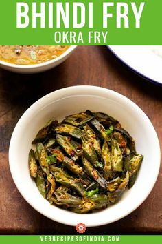 Bhindi Fry Recipe with step by step photos. This is an easy to prepare spiced and tasty punjabi bhindi masala fry recipe. Vegetable Curry, Vegetable Dishes, Vegetable Recipes, Okra Recipes, Curry Recipes, North Indian Recipes, Indian Food Recipes, Vegetarian Curry, Vegetarian Recipes