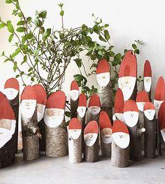 Painted Log Santas, Set of 6 by Collin Garrity on Scoutmob
