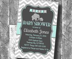♥Mint Green Elephant Baby Shower Personalized Invitation Digital Printable PDF Boy or Girl Baby Shower♥  PRINTABLE DIGITAL FILE These adorable elephant invitations will really stand out for your mother-to-be's baby shower!! It is a personalized PRINTABLE invitation that is easy to put together and includes simple instructions.  The invites are delivered in the form of a PDF that you can print on 8.5x11 card stock paper, as well as a JPEG of the image alone for printing on photo paper. The…