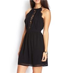 rückenfreies Kleid mit Spitzedetail, schwarz | Berlinmo