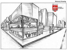Memory Drawings   NATA and JEE-Arch Coaching Pencil Art Drawings, Art Drawings Sketches, Easy Drawings, Perspective Drawing Lessons, Perspective Sketch, Architecture Exam, Interior Design Sketches, Pencil Shading, Creative Skills