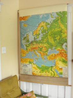I FINALLY found a Vintage Pull Down School Map at a decent price! Mine is a dual map with the U.S. and World Maps.  I picked it up for $60 at Second Use in Seattle!  So very excited to hang it in my office!!  I'm thinking this cornice idea might be good if hubby thinks hanging will be a challenge.