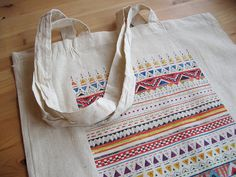 Pattern Cotton Tote Bag @Sandra Pendle Dieckmann £5.00 #handmade #illustration #native #geometric #tote #shopper #bag #cotton