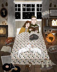 "iweon: "" Good night and sweet dreams… Illustration by Annya Marttinen. Dream Illustration, Reading Art, Sweet Soul, Sweet Dreams, Wow Art, Jolie Photo, Illustrations, Art Inspo, Art Drawings"