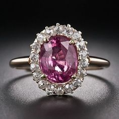 Diamonds in the Library — Antique Pink Sapphire and Diamond Ring. A bright...