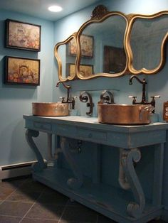 Bathroom - (The sinks in this bathroom are made from copper pots).