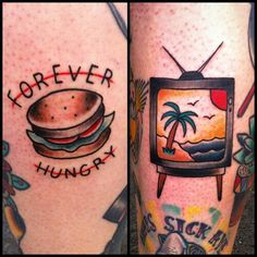I think I found my tattoo! Forever Hungry with a cheeseburger, how accurate is that?! @Kelsey Mona