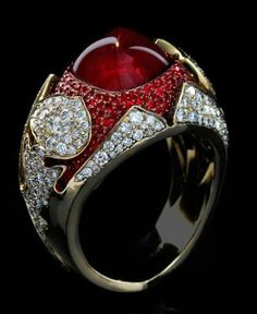 """Mousson Atelier Hi Jewellery Collection Night"""" Gold 750 Ruby and Diamond Ring featuring 1 Ruby totaling 197 Rubies totaling and 215 Diamonds totaling total wight Ruby Jewelry, Diamond Jewelry, Fine Jewelry, Gold Jewellery, Anillo Art Nouveau, Ruby Diamond Rings, Ruby Rings, Diamond Art, Ring Earrings"""