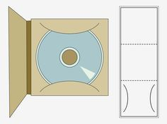 Vector graphics of a printable CD case template. Rectangular fold out, lines for cutting, gluing and folding, rounded slits for inserting the disc and 3D preview of the finished paper craft. Free vector graphics for CDs, CD cases, CD boxes, paper crafts, DIY projects and packaging designs. CD Case by creativosonline.org